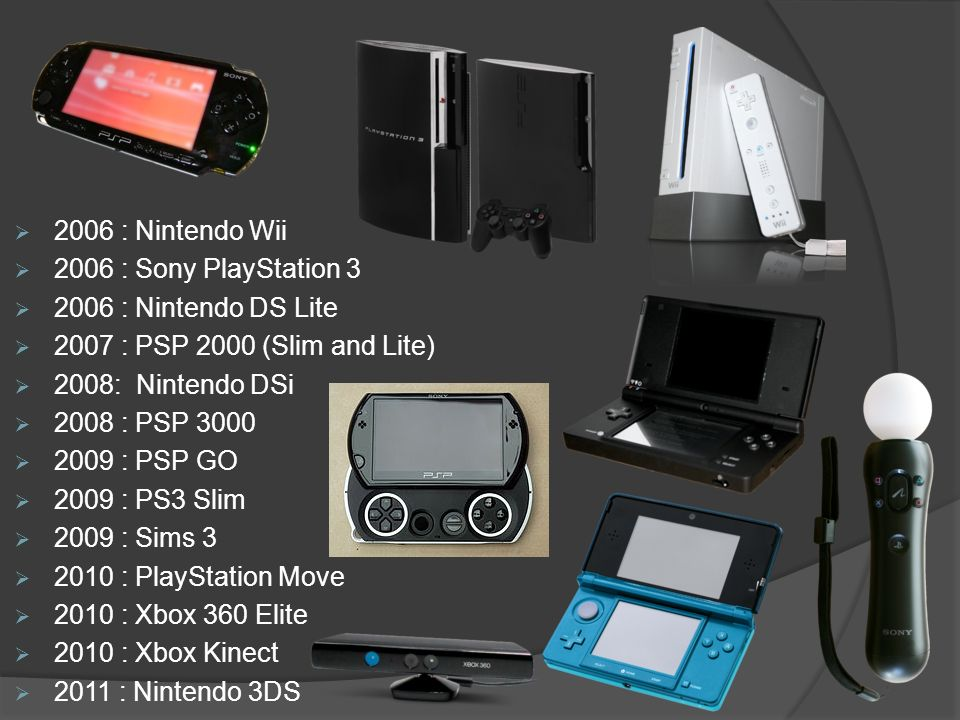 2006 : Nintendo Wii 2006 : Sony PlayStation 3 2006 : Nintendo DS Lite 2007 : PSP 2000 (Slim and Lite) 2008: Nintendo DSi 2008 : PSP 3000 2009 : PSP GO 2009 : PS3 Slim 2009 : Sims 3 2010 : PlayStation Move 2010 : Xbox 360 Elite 2010 : Xbox Kinect 2011 : Nintendo 3DS