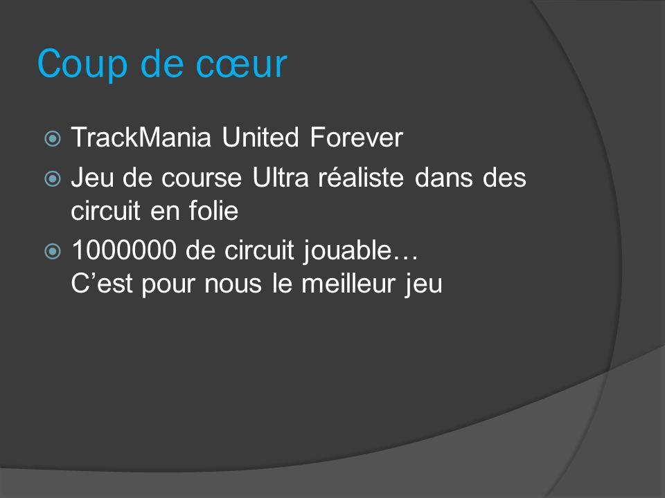 Coup de cœur TrackMania United Forever Jeu de course Ultra réaliste dans des circuit en folie 1000000 de circuit jouable… Cest pour nous le meilleur j