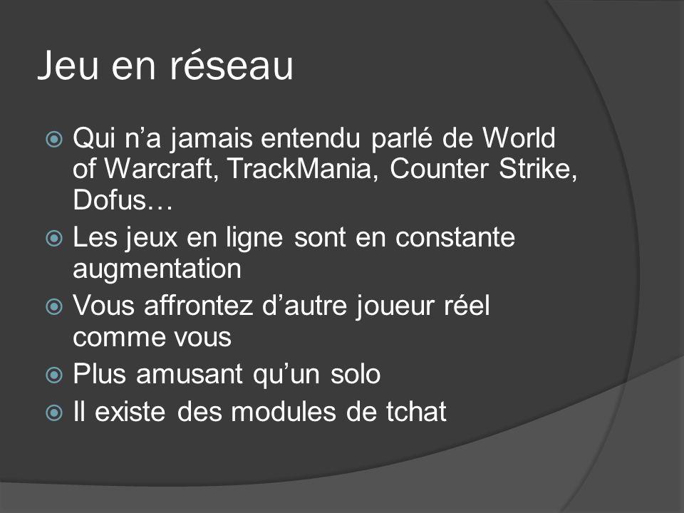 Jeu en réseau Qui na jamais entendu parlé de World of Warcraft, TrackMania, Counter Strike, Dofus… Les jeux en ligne sont en constante augmentation Vo