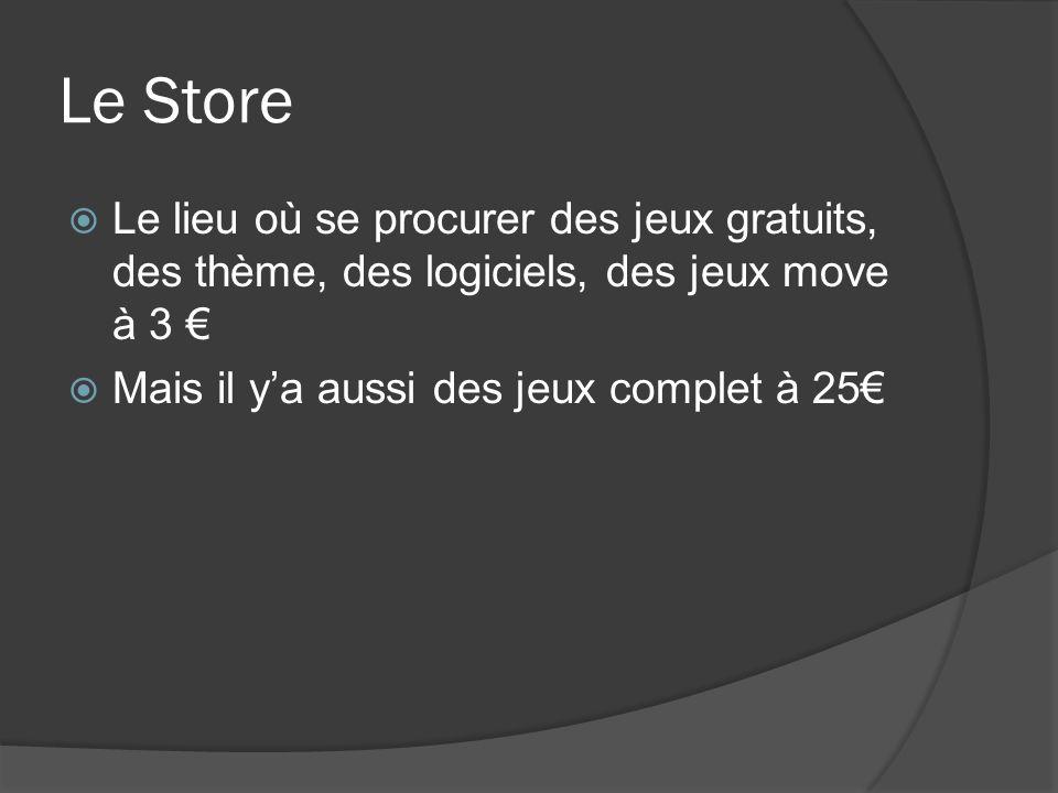 Le Store Le lieu où se procurer des jeux gratuits, des thème, des logiciels, des jeux move à 3 Mais il ya aussi des jeux complet à 25