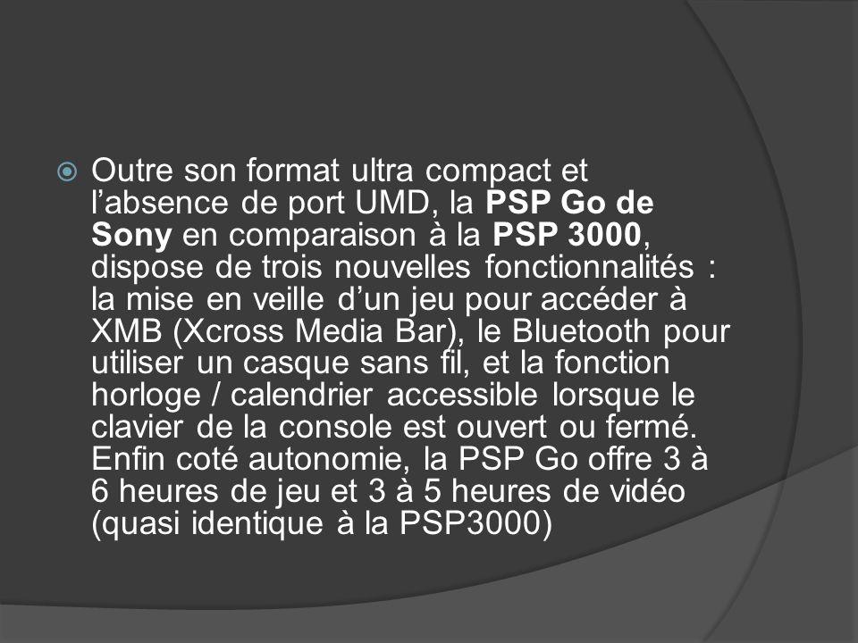 Outre son format ultra compact et labsence de port UMD, la PSP Go de Sony en comparaison à la PSP 3000, dispose de trois nouvelles fonctionnalités : l