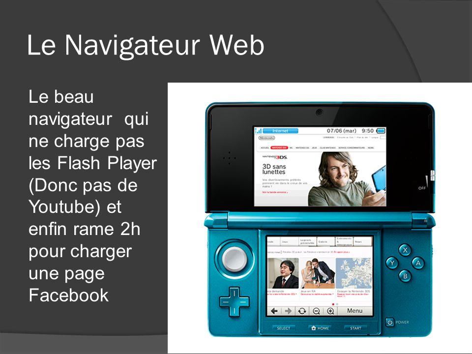 Le Navigateur Web Le beau navigateur qui ne charge pas les Flash Player (Donc pas de Youtube) et enfin rame 2h pour charger une page Facebook