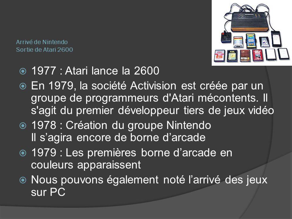 Arrivé de Nintendo Sortie de Atari 2600 1977 : Atari lance la 2600 En 1979, la société Activision est créée par un groupe de programmeurs d'Atari méco