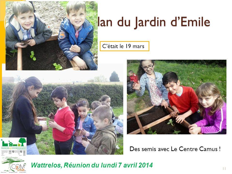 11 Wattrelos, Réunion du lundi 7 avril 2014 Cétait le 19 mars II. 2 ème bilan du Jardin dEmile II. 2 ème bilan du Jardin dEmile Des semis avec Le Cent