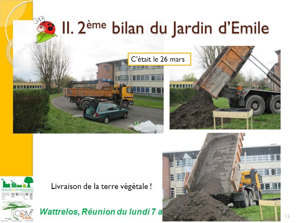 12 Wattrelos, Réunion du lundi 7 avril 2014 Cétait le 26 mars II. 2 ème bilan du Jardin dEmile II. 2 ème bilan du Jardin dEmile Livraison de la terre
