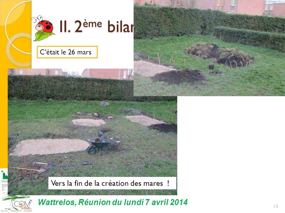 13 Wattrelos, Réunion du lundi 7 avril 2014 Cétait le 26 mars II. 2 ème bilan du Jardin dEmile II. 2 ème bilan du Jardin dEmile Vers la fin de la créa