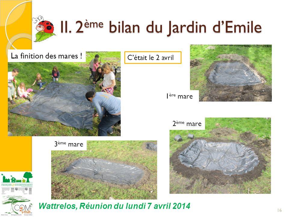 16 Wattrelos, Réunion du lundi 7 avril 2014 Cétait le 2 avril II. 2 ème bilan du Jardin dEmile II. 2 ème bilan du Jardin dEmile 1 ère mare 2 ème mare