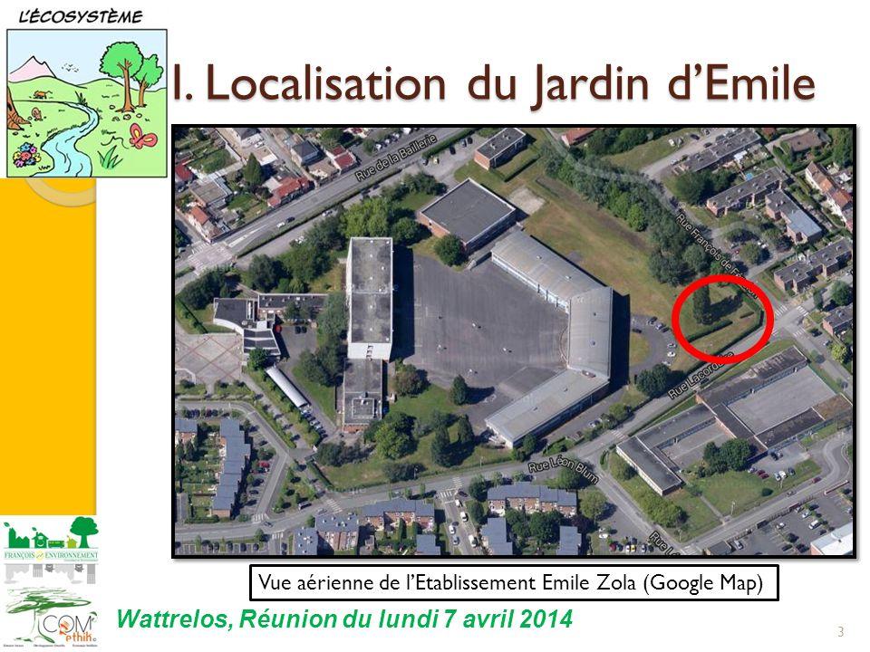 I. Localisation du Jardin dEmile 3 Vue aérienne de lEtablissement Emile Zola (Google Map) Wattrelos, Réunion du lundi 7 avril 2014