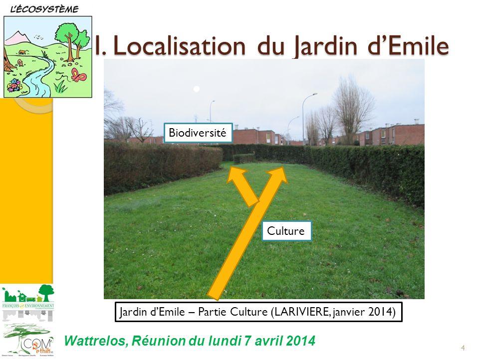 I. Localisation du Jardin dEmile 4 Jardin dEmile – Partie Culture (LARIVIERE, janvier 2014) Biodiversité Culture Wattrelos, Réunion du lundi 7 avril 2