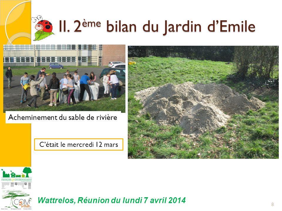 II. 2 ème bilan du Jardin dEmile II. 2 ème bilan du Jardin dEmile 8 Cétait le mercredi 12 mars Wattrelos, Réunion du lundi 7 avril 2014 Acheminement d