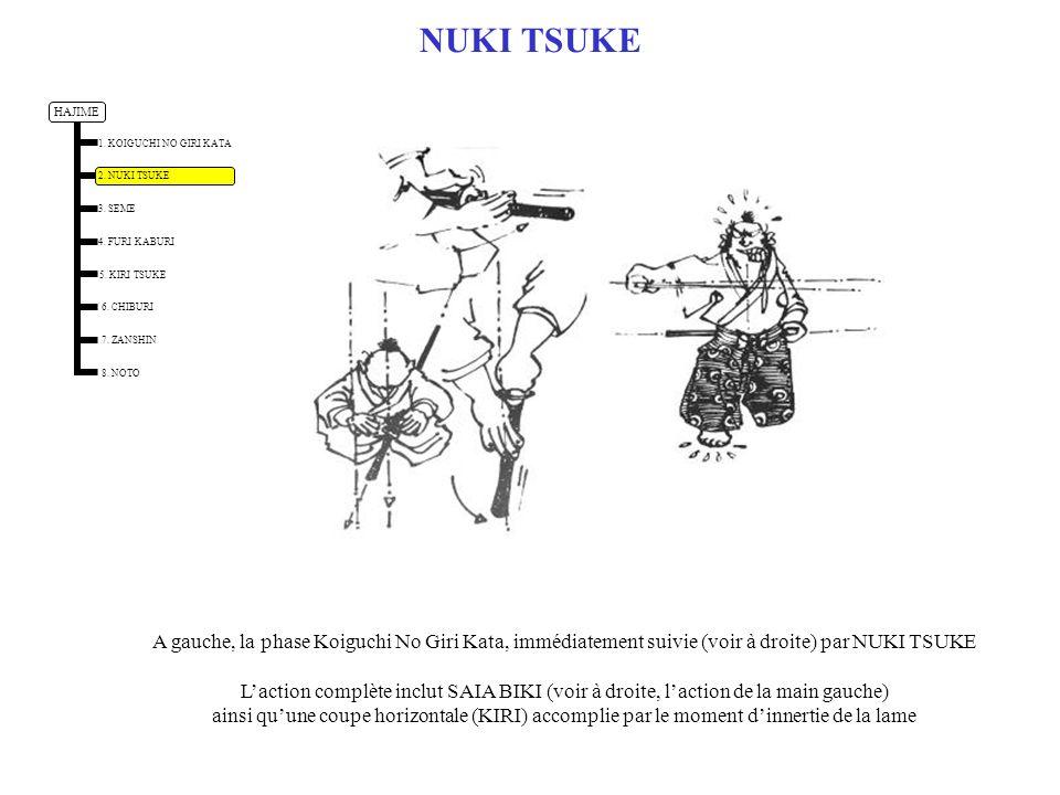 KIRI TSUKE – COUPE FRONTALE KIRI TSUKE commence par une action de frappe suivie dune action de coupe par moment dinertie Par exemple on frappe ici le sommet du crâne (Men Uchi) puis on continue laction de coupe au travers du corps HAJIME 1.