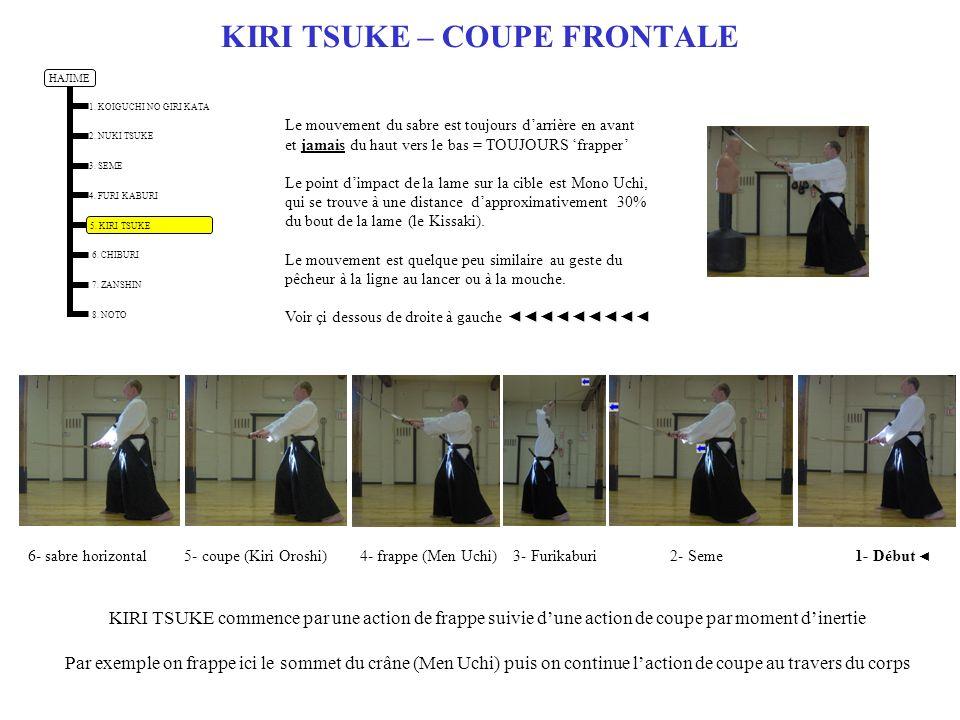 KIRI TSUKE – COUPE FRONTALE KIRI TSUKE commence par une action de frappe suivie dune action de coupe par moment dinertie Par exemple on frappe ici le