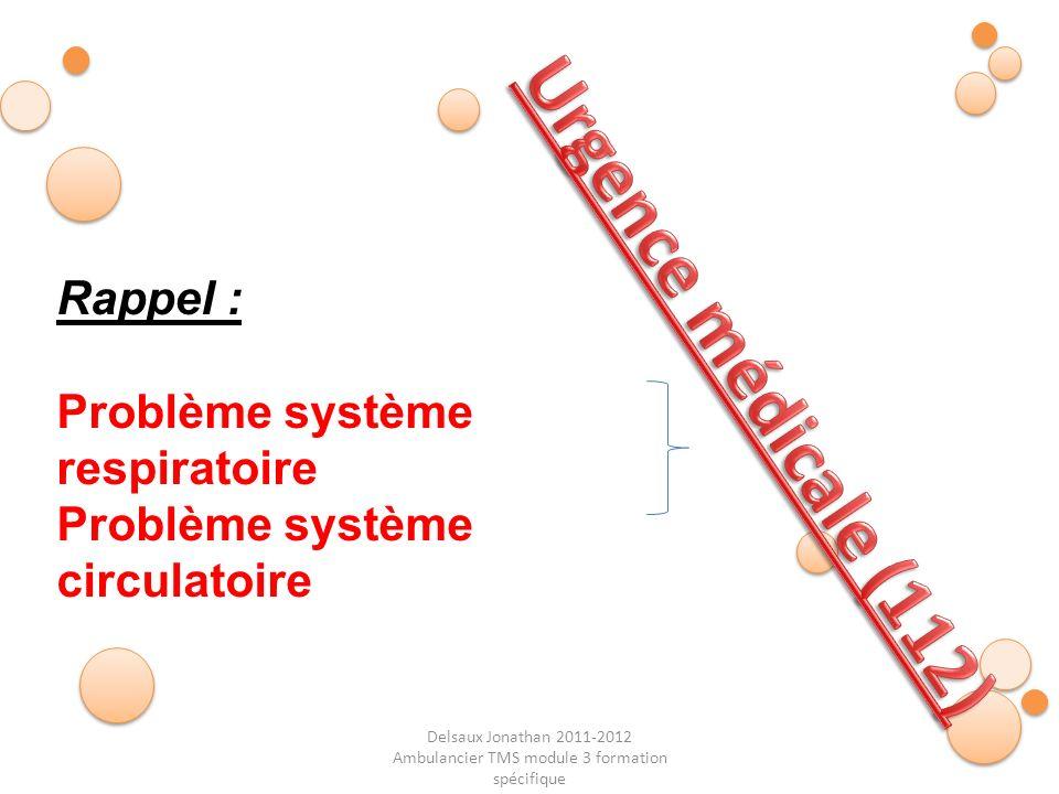 Delsaux Jonathan 2011-2012 Ambulancier TMS module 3 formation spécifique Rappel : Problème système respiratoire Problème système circulatoire