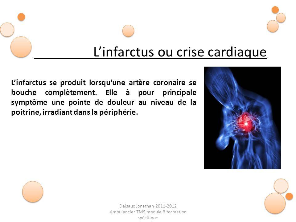 Delsaux Jonathan 2011-2012 Ambulancier TMS module 3 formation spécifique Linfarctus ou crise cardiaque Linfarctus se produit lorsqu'une artère coronai