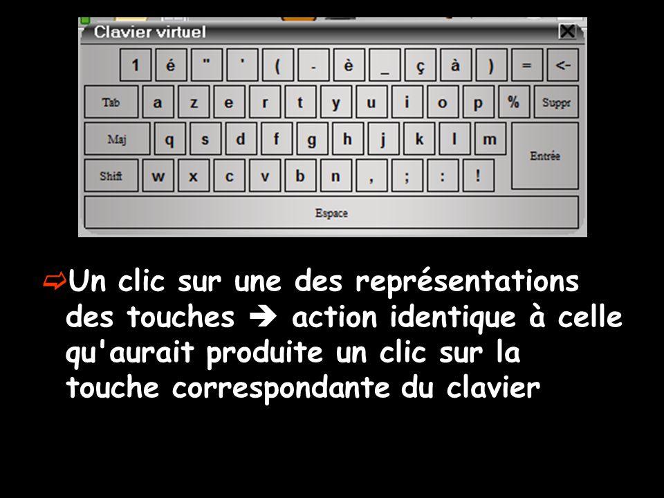 Un clic sur une des représentations des touches action identique à celle qu aurait produite un clic sur la touche correspondante du clavier