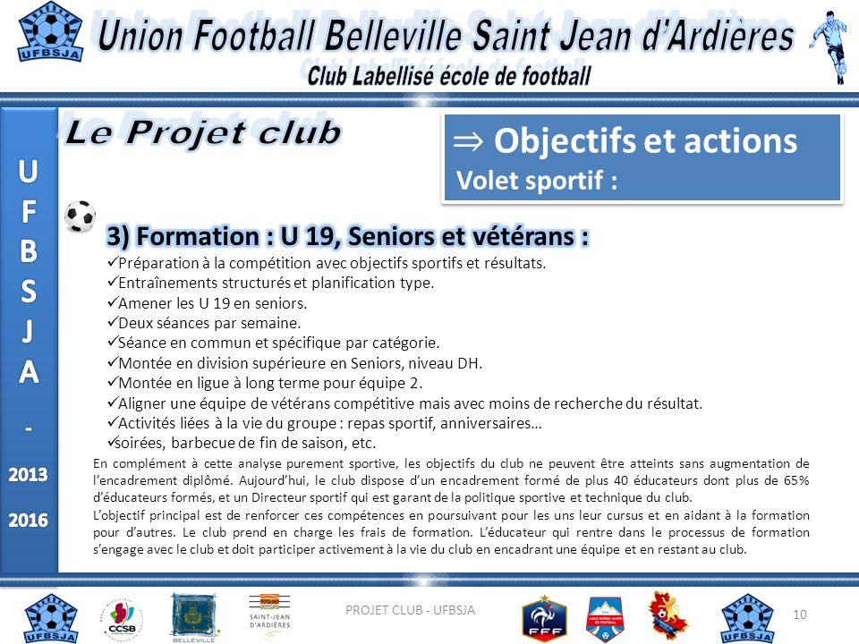 10 PROJET CLUB - UFBSJA En complément à cette analyse purement sportive, les objectifs du club ne peuvent être atteints sans augmentation de lencadrem