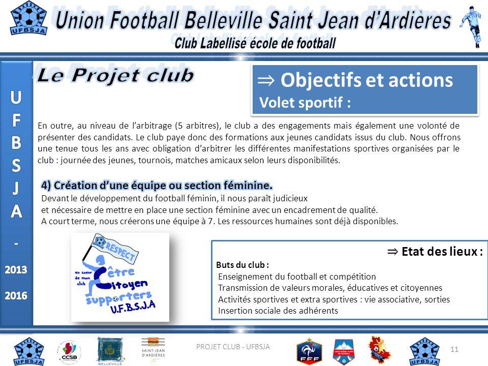11 PROJET CLUB - UFBSJA En outre, au niveau de larbitrage (5 arbitres), le club a des engagements mais également une volonté de présenter des candidat