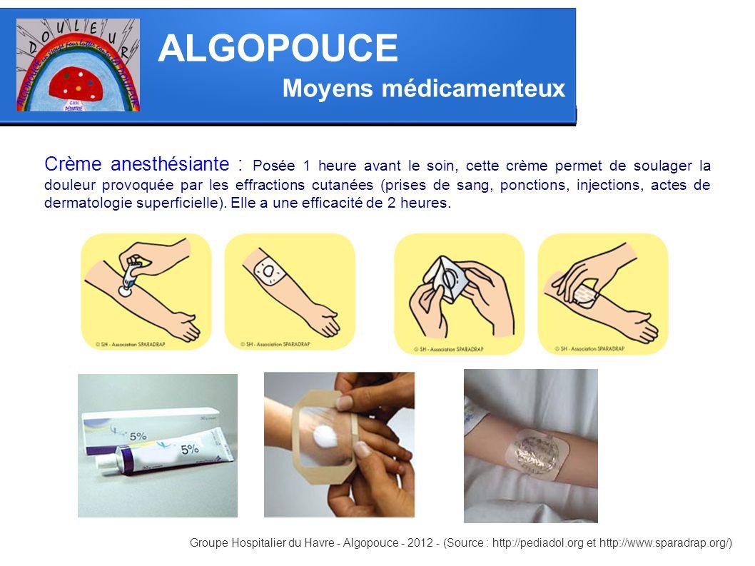Moyens médicamenteux ALGOPOUCE Crème anesthésiante : Posée 1 heure avant le soin, cette crème permet de soulager la douleur provoquée par les effracti