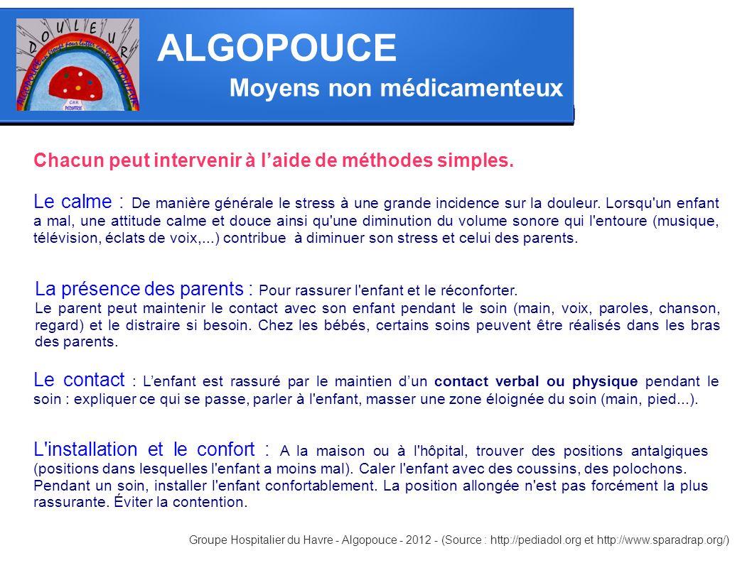 Moyens non médicamenteux ALGOPOUCE Groupe Hospitalier du Havre - Algopouce - 2012 - (Source : http://pediadol.org et http://www.sparadrap.org/) Chacun