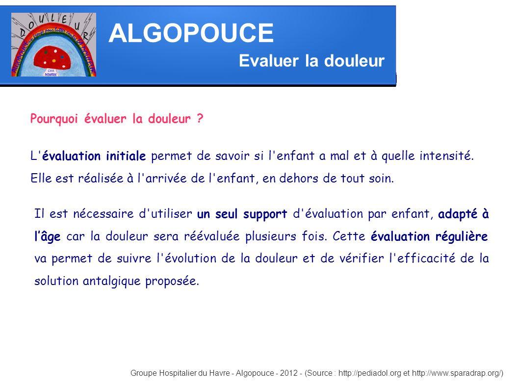 ALGOPOUCE Groupe Hospitalier du Havre - Algopouce - 2012 - (Source : http://pediadol.org et http://www.sparadrap.org/) Evaluer la douleur Pourquoi éva