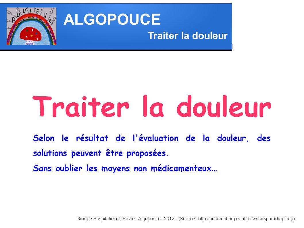 ALGOPOUCE Traiter la douleur Groupe Hospitalier du Havre - Algopouce - 2012 - (Source : http://pediadol.org et http://www.sparadrap.org/) Selon le rés
