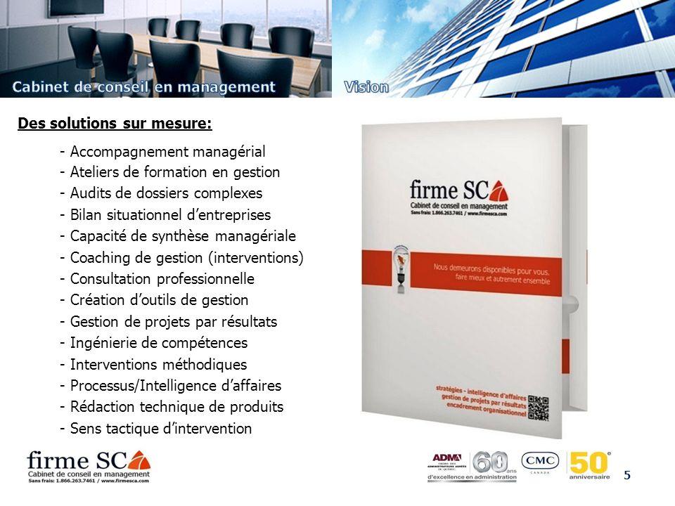 5 - Accompagnement managérial - Ateliers de formation en gestion - Audits de dossiers complexes - Bilan situationnel dentreprises - Capacité de synthè
