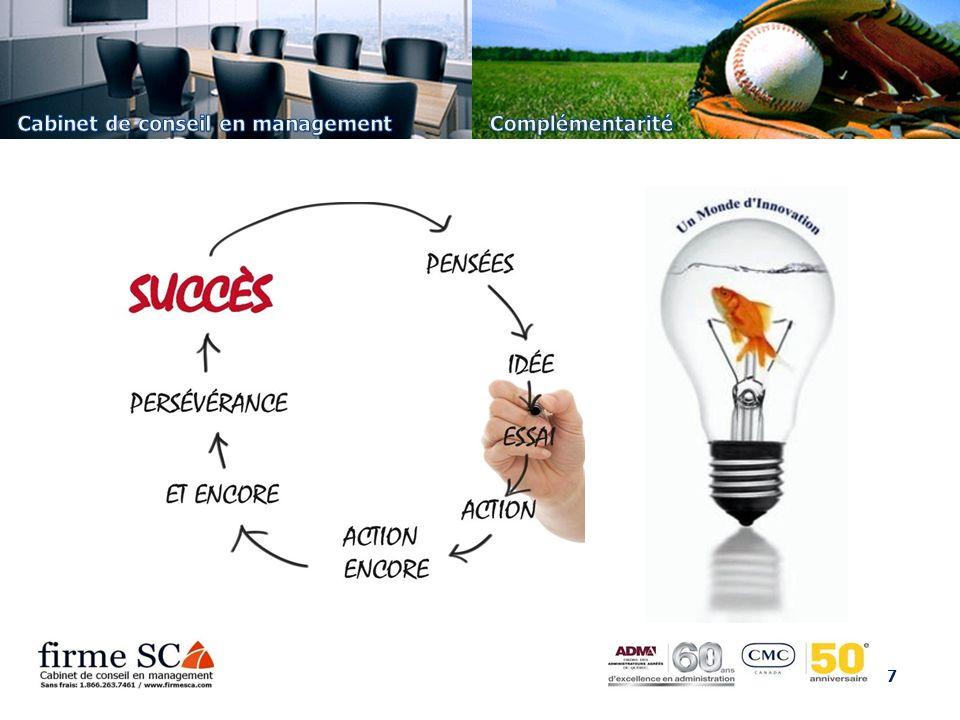 8 En matière de stratégie, désirez-vous avoir des résultats rapidement en conformité avec vos objectifs.