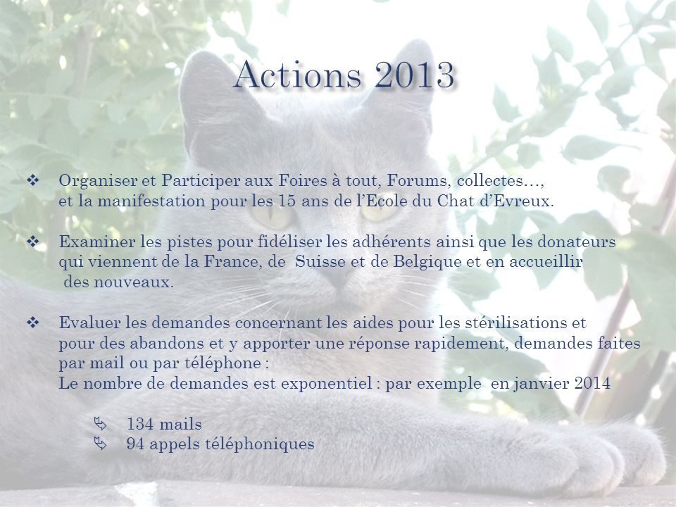 Organiser et Participer aux Foires à tout, Forums, collectes…, et la manifestation pour les 15 ans de lEcole du Chat dEvreux.