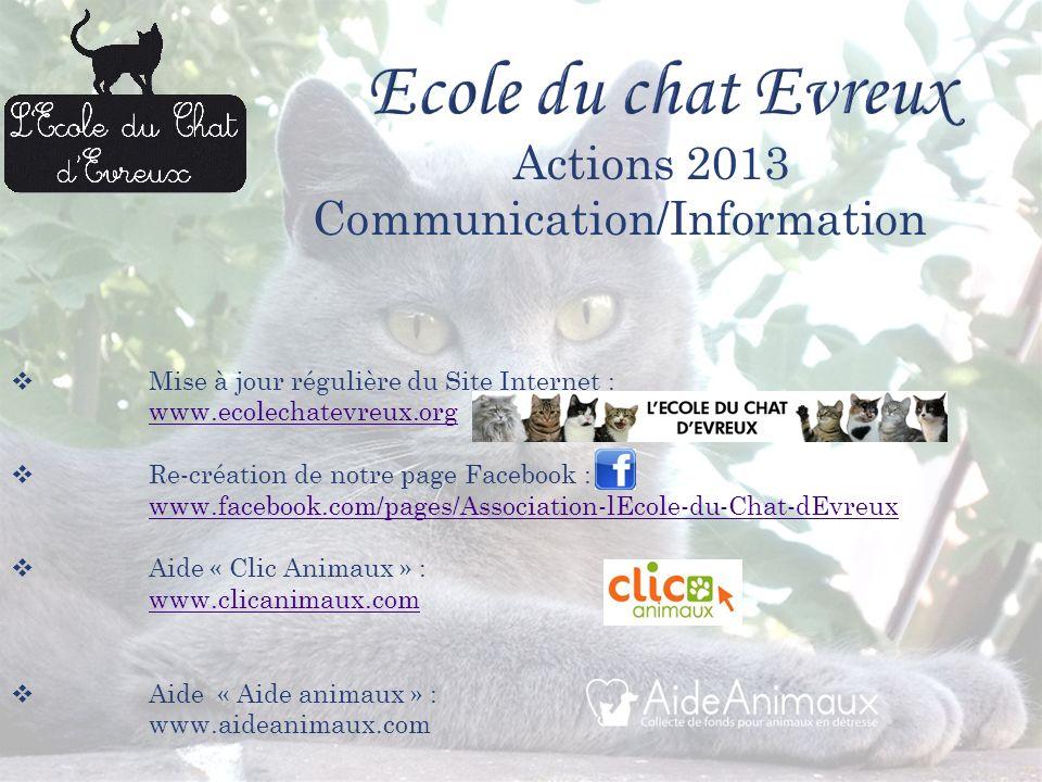 Mise à jour régulière du Site Internet : www.ecolechatevreux.org Re-création de notre page Facebook : www.facebook.com/pages/Association-lEcole-du-Chat-dEvreux Aide « Clic Animaux » : www.clicanimaux.com Aide « Aide animaux » : www.aideanimaux.com Actions 2013 Communication/Information