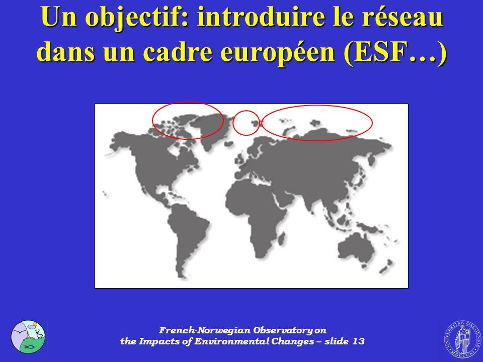 French-Norwegian Observatory on the Impacts of Environmental Changes – slide 13 Un objectif: introduire le réseau dans un cadre européen (ESF…)