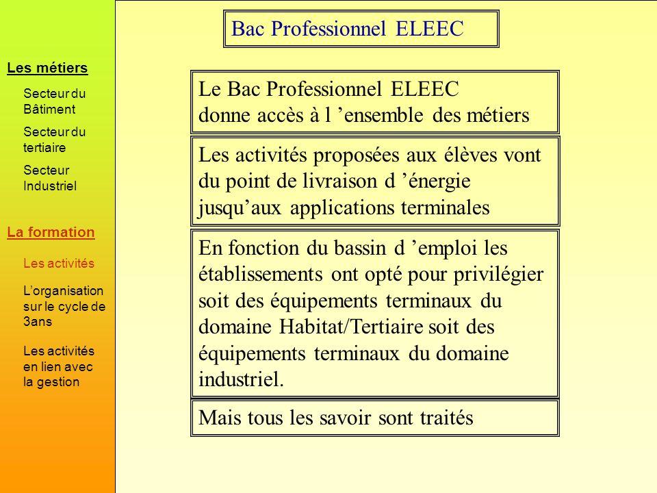 Bac Professionnel ELEEC Mais tous les savoir sont traités Le Bac Professionnel ELEEC donne accès à l ensemble des métiers En fonction du bassin d empl