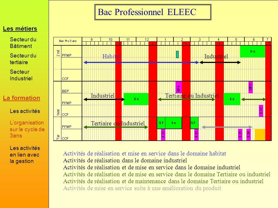Bac Professionnel ELEEC Activités de réalisation et mise en service dans le domaine habitat Habitat Activités de réalisation dans le domaine industrie