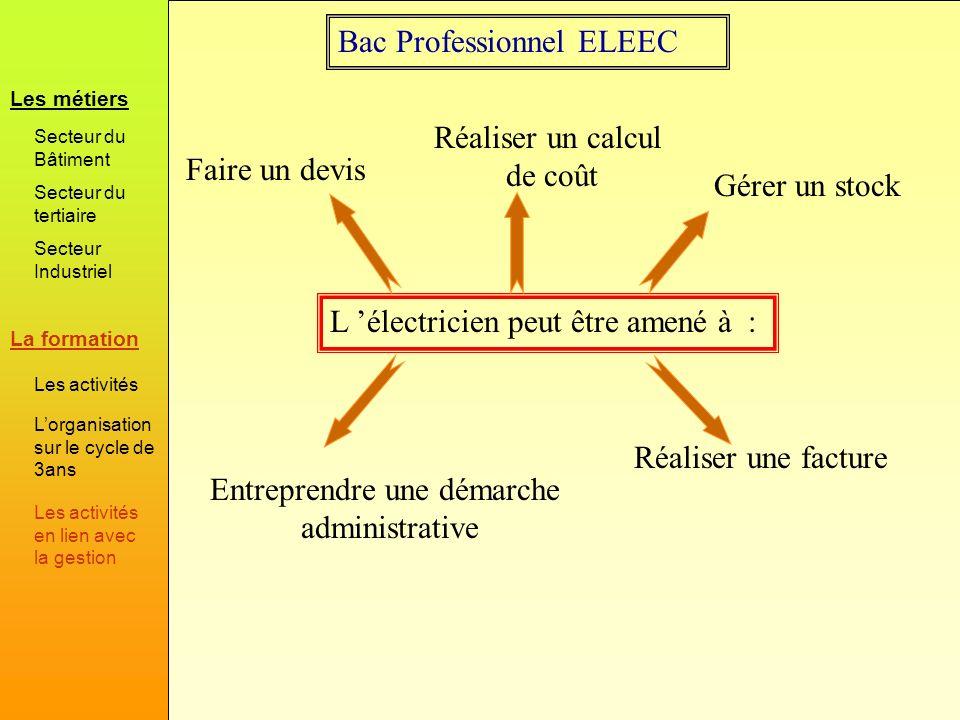 Bac Professionnel ELEEC L électricien peut être amené à : Gérer un stock Réaliser une facture Réaliser un calcul de coût Faire un devis Entreprendre u
