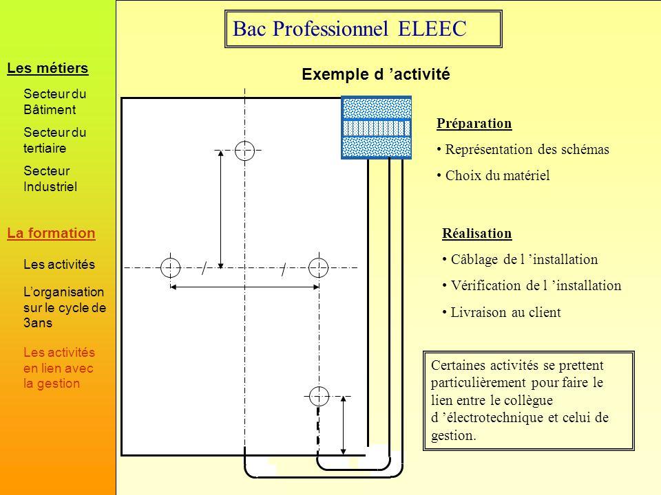 Bac Professionnel ELEEC Exemple d activité Préparation Représentation des schémas Choix du matériel Réalisation Câblage de l installation Vérification