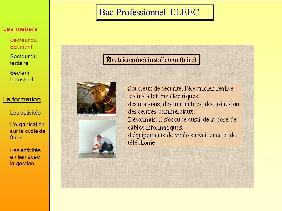 Bac Professionnel ELEEC HabitatIndustriel Des activités qui évoluent durant les trois ans : En seconde on donne l ensemble des éléments permettant de réaliser et mettre en service l équipement.