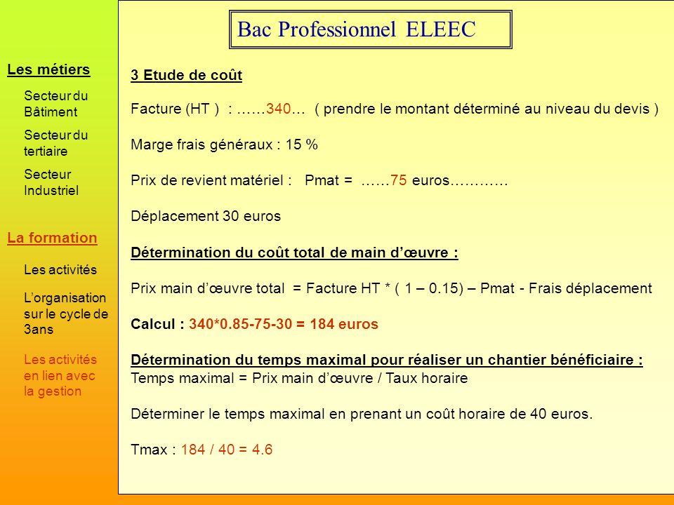 Bac Professionnel ELEEC 3 Etude de coût Facture (HT ) : ……340… ( prendre le montant déterminé au niveau du devis ) Marge frais généraux : 15 % Prix de