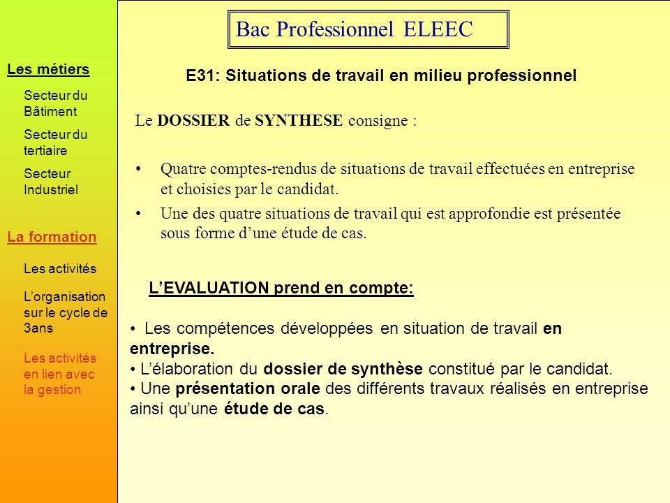 Bac Professionnel ELEEC Le DOSSIER de SYNTHESE consigne : Quatre comptes-rendus de situations de travail effectuées en entreprise et choisies par le c