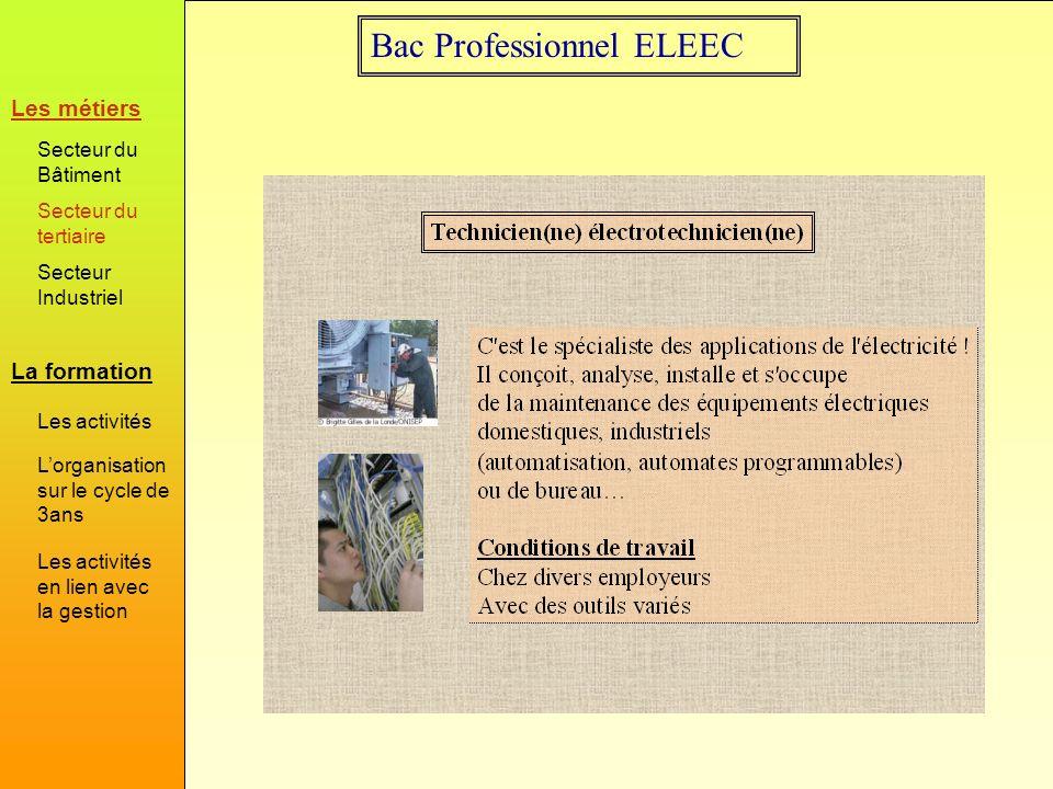 Bac Professionnel ELEEC Activités de réalisation et mise en service dans le domaine habitat Habitat La formation Les métiers Secteur du Bâtiment Secteur du tertiaire Secteur Industriel Les activités Lorganisation sur le cycle de 3ans Les activités en lien avec la gestion