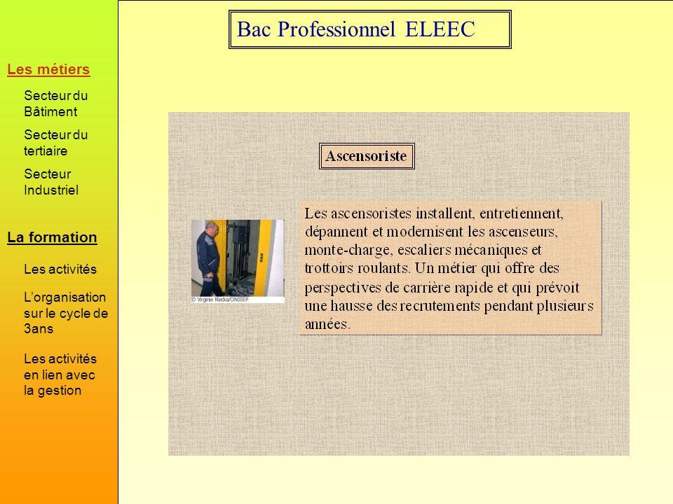 Bac Professionnel ELEEC Exemple d activité Préparation Représentation des schémas Choix du matériel Réalisation Câblage de l installation Vérification de l installation Livraison au client La formation Les métiers Secteur du Bâtiment Secteur du tertiaire Secteur Industriel Les activités Lorganisation sur le cycle de 3ans Les activités en lien avec la gestion Certaines activités se prettent particulièrement pour faire le lien entre le collègue d électrotechnique et celui de gestion.