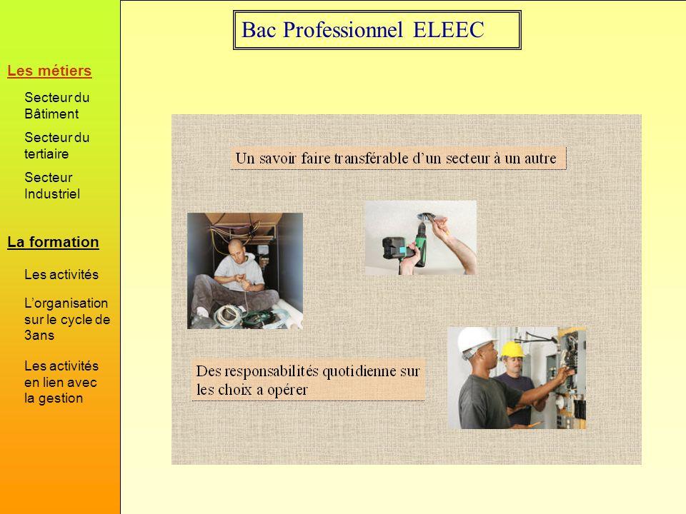 Bac Professionnel ELEEC La formation Les métiers Secteur du Bâtiment Secteur du tertiaire Secteur Industriel Les activités Lorganisation sur le cycle de 3ans Les activités en lien avec la gestion