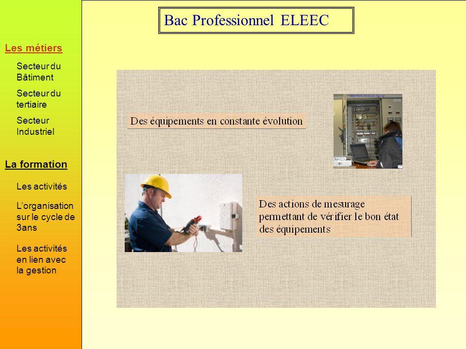 Bac Professionnel ELEEC Mais tous les savoir sont traités Le Bac Professionnel ELEEC donne accès à l ensemble des métiers En fonction du bassin d emploi les établissements ont opté pour privilégier soit des équipements terminaux du domaine Habitat/Tertiaire soit des équipements terminaux du domaine industriel.