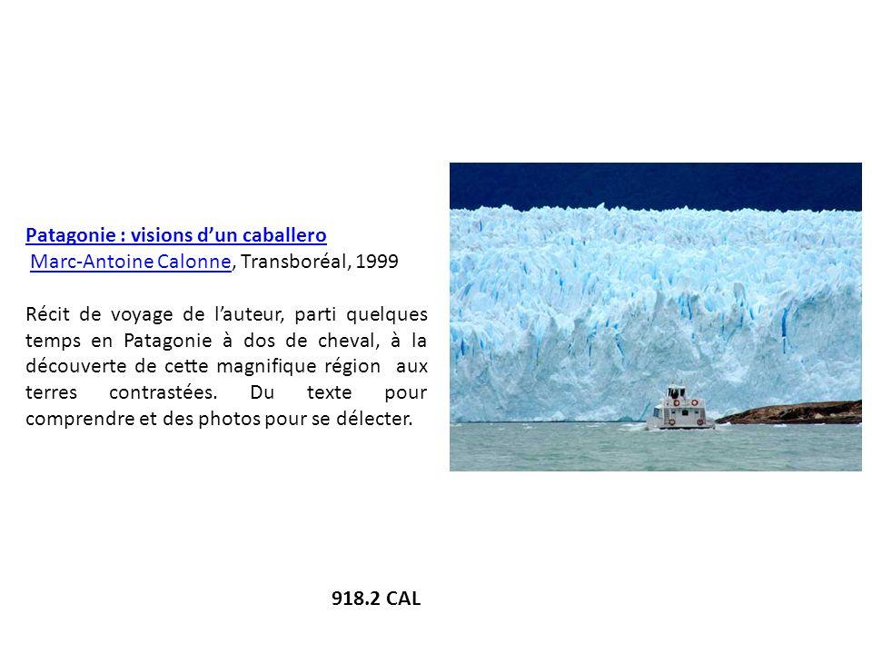 Patagonie : visions dun caballero Marc-Antoine Calonne, Transboréal, 1999Marc-Antoine Calonne Récit de voyage de lauteur, parti quelques temps en Pata