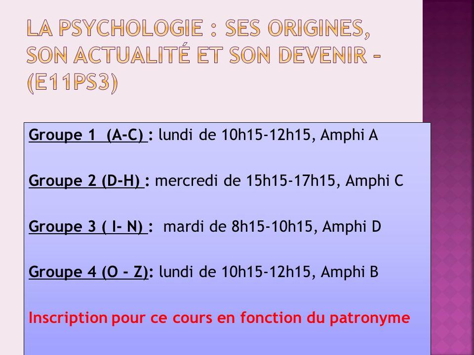 Groupe 1 : lundi de 8h15-10h15, Amphi C Groupe 2 : mardi de 8h15-10h15, Amphi A Groupe 3 : mercredi de 8h15-10h15, Amphi H Groupe 4 : jeudi de 8h15-10h15, Amphi B Groupe 5 : vendredi de 8h15-10h15, Amphi A Inscription pour ce cours sur internet : http://www.univ-montp3.fr/ufr5/L1socio/