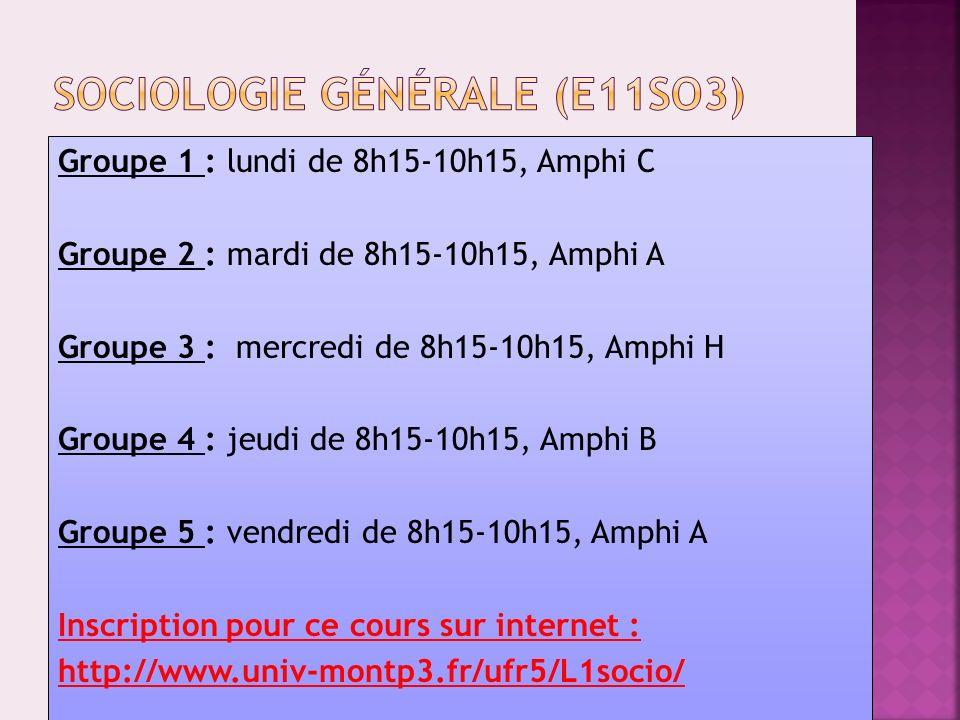 Groupe 1 : lundi de 13h15-15h15, Amphi F Groupe 2 : mardi de 16h15-18h15, Amphi F Groupe 3 : mercredi de 13h15-15h15, Amphi C Groupe 4 : jeudi de 12h15-14h15, Amphi A Groupe 5 : vendredi de 13h15-15h15, Amphi E Inscription pour le cours sur internet : http://www.univ-montp3.fr/ufr5/L1ethno/