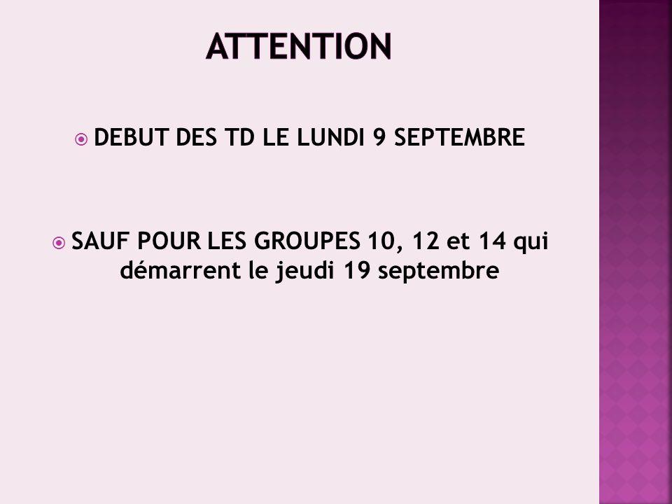 26h Cours au 1 er semestre (E14BI3) Informations complètes : http://www.univ-montp3.fr/biologie Début des cours de biologie : mardi 10 septembre Groupe I (ét.