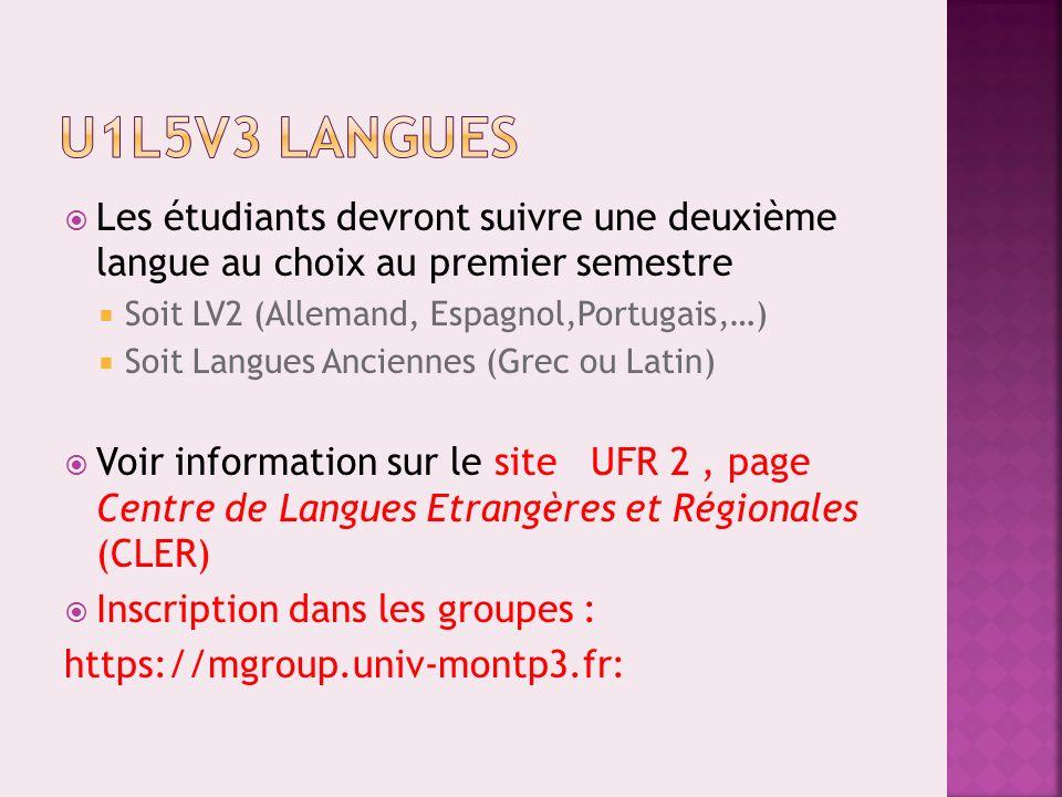 Parmi les enseignements suivants, choisir un cours : Mythologie et littérature (E182LTM3) Temps et civilisations (E18HI3) Sport (E18EP3)