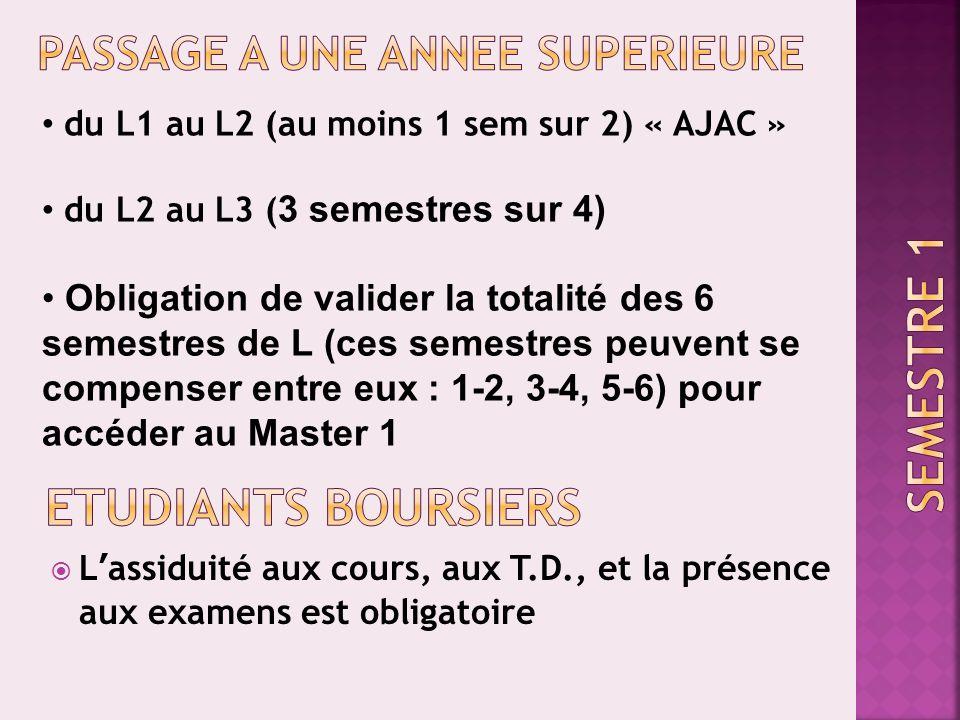 Lassiduité aux cours, aux T.D., et la présence aux examens est obligatoire du L1 au L2 (au moins 1 sem sur 2) « AJAC » du L2 au L3 ( 3 semestres sur 4