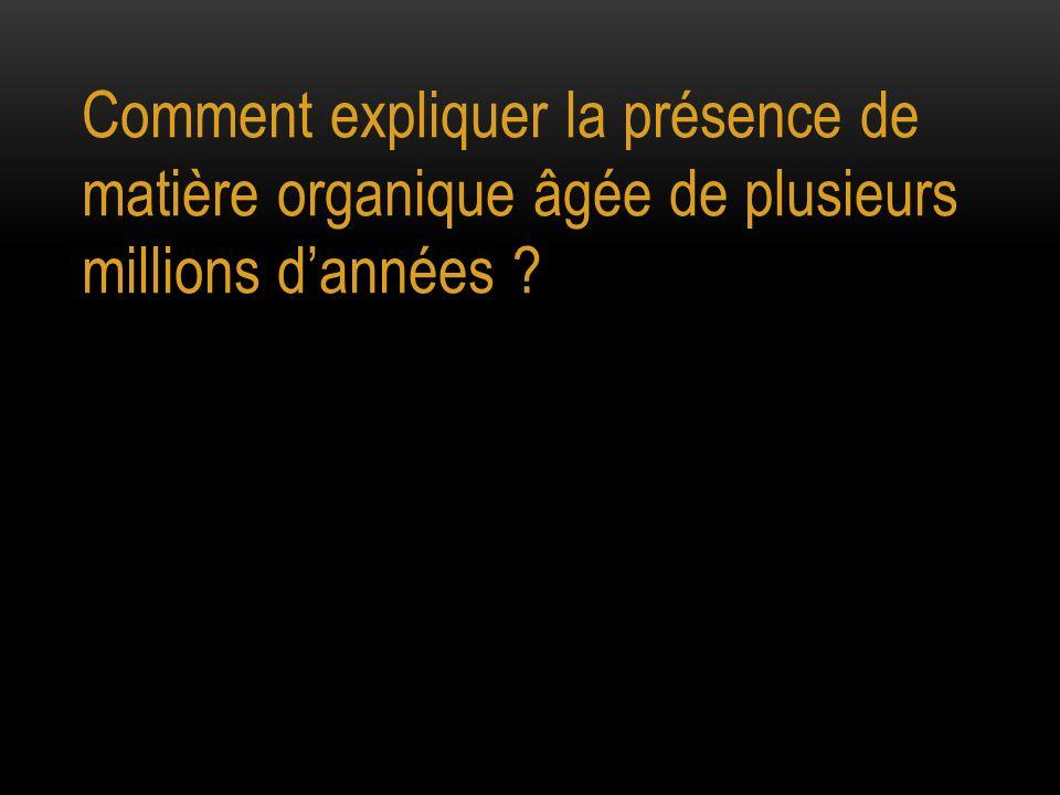 Comment expliquer la présence de matière organique âgée de plusieurs millions dannées ?