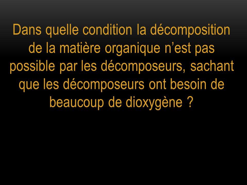 Dans quelle condition la décomposition de la matière organique nest pas possible par les décomposeurs, sachant que les décomposeurs ont besoin de beau