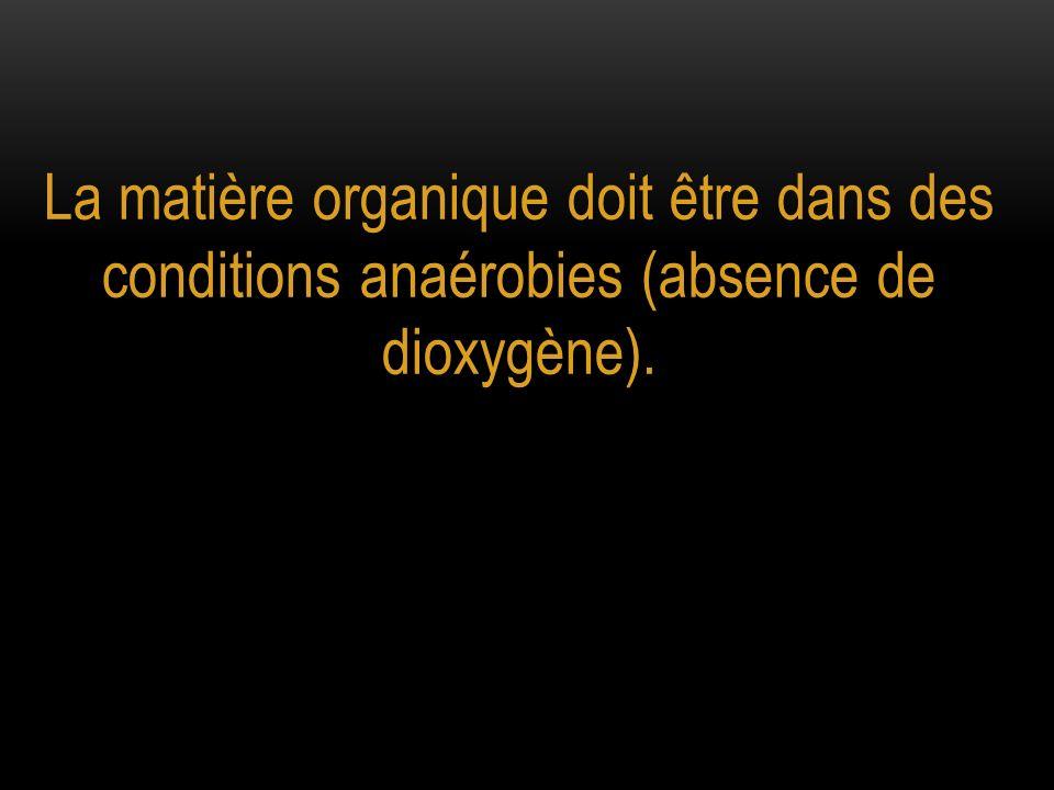 La matière organique doit être dans des conditions anaérobies (absence de dioxygène).